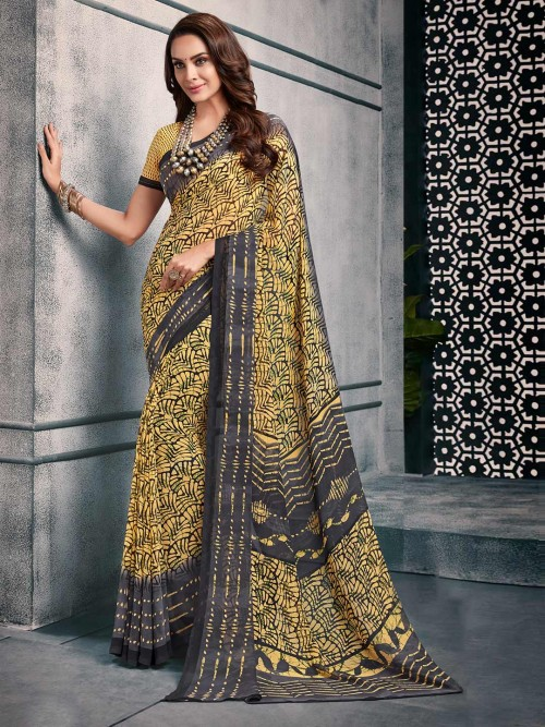 Yellow And Grey Printed Saree For Women