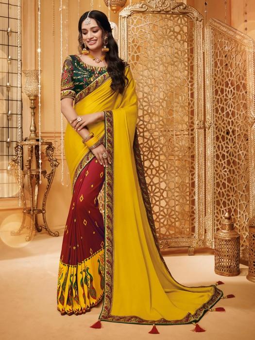 Yellow And Maroon Half And Half Saree In Satin