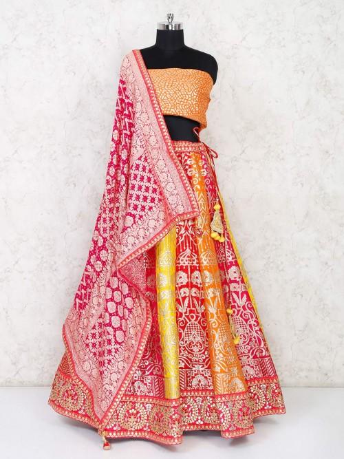 Yellow And Orange Semi Stitched Lehenga Choli In Silk