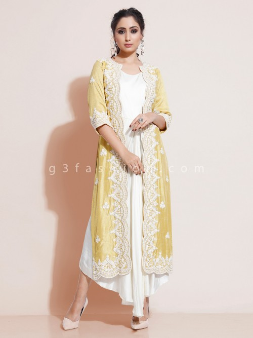 Yellow And White Cotton Silk Indo Western With Jacket