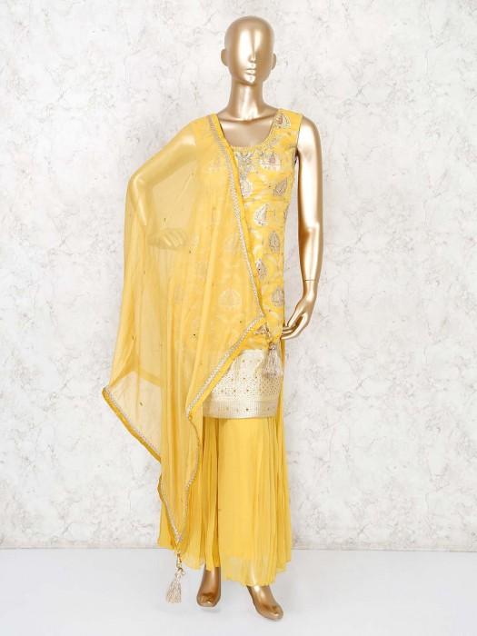 Yellow Banarasi Silk Party Wear Punjabi Palazzo Suit
