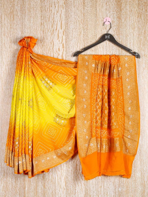 Yellow Bandhej Saree In Georgette
