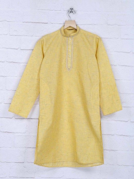 Yellow Checks Pattern Festive Kurta Suit
