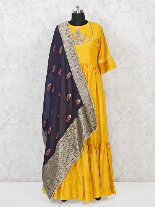 Yellow Classic Cotton Silk Anarkali Suit
