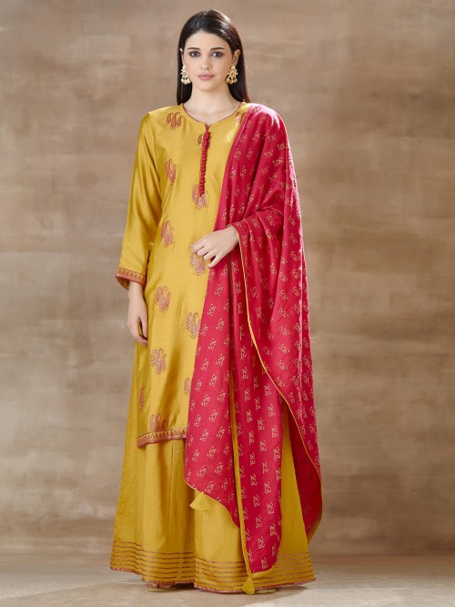 Yellow Classic Palazzo Salwar Suit In Cotton Silk
