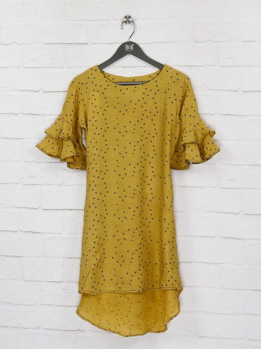 Yellow Color Cotton Fabric Printed Top