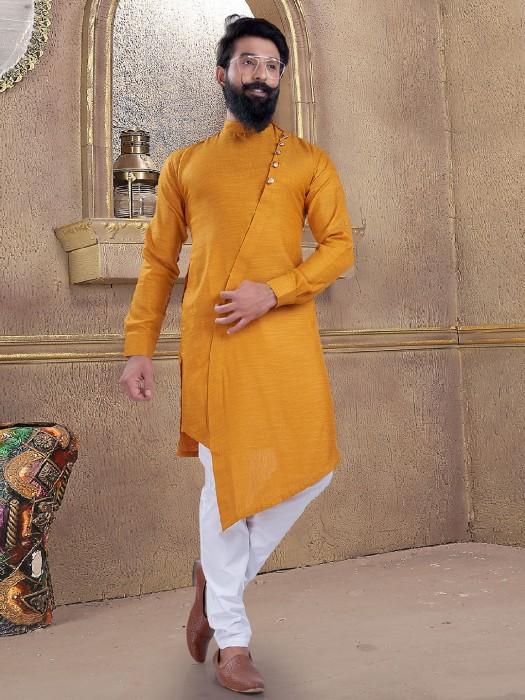 Yellow Color Kurta Suit For Mens