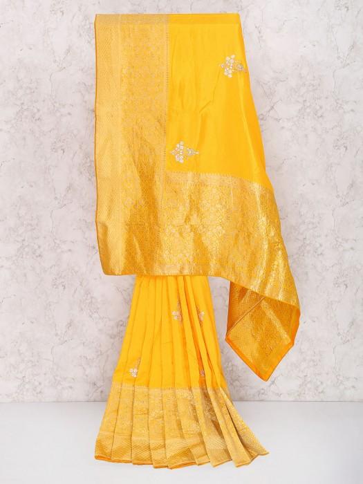 Yellow Color Muga Silk Festive Wear Saree
