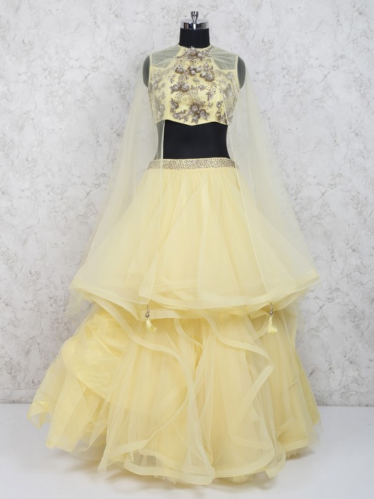 Yellow Color Party Net Fabric Ruffle Style Lehenga Choli