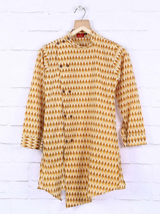 Yellow Color Printed Cotton Kurta Suit