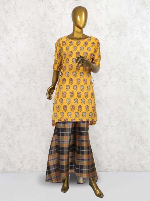 Yellow Color Printed Cotton Kurti