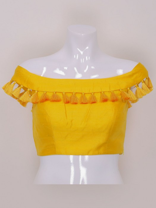 Yellow Color Raw Silk Designer Ready Made Blouse