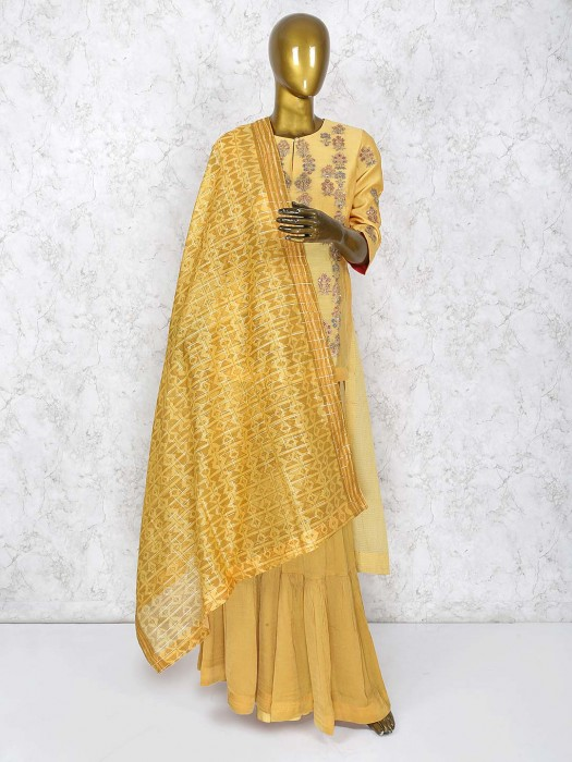 Yellow Color Wonderful Sharara Suit In Cotton Silk Fabric