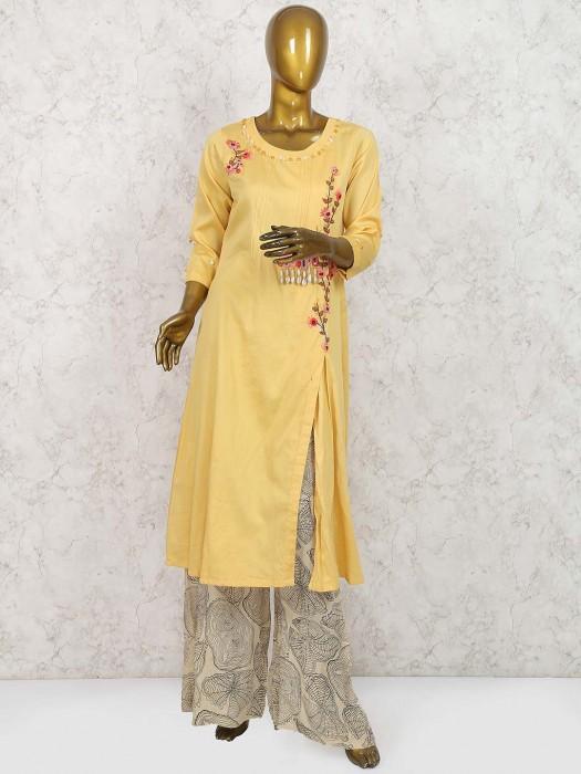 Yellow Colored Cotton Silk Punjabi Palazzo Suit
