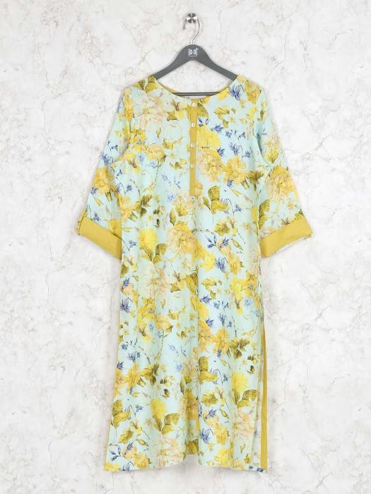 Yellow Colored Printed Kurti