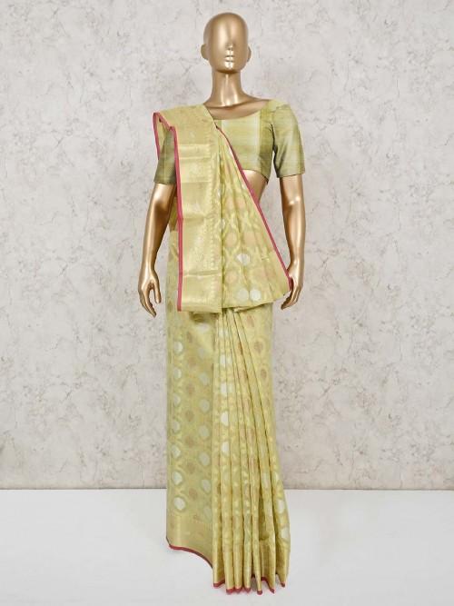 Yellow Cotton Banarasi Silk Festive Saree