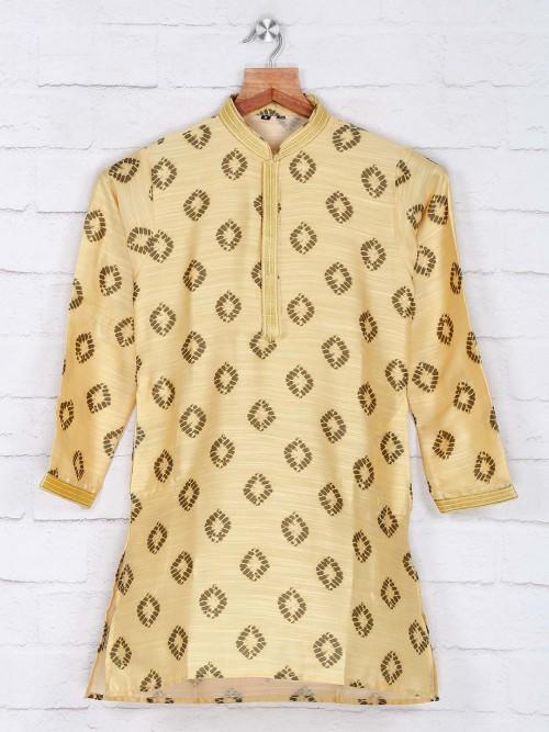 Yellow Cotton Boys Kurta Suit