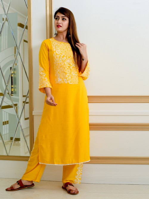 Yellow Cotton Casual Wear Pant Suit