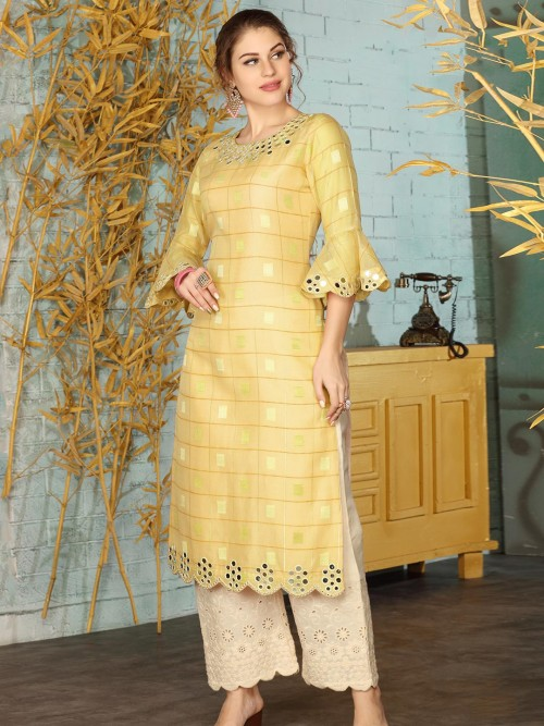 Yellow Cotton Festive Wear Palazzo Suit