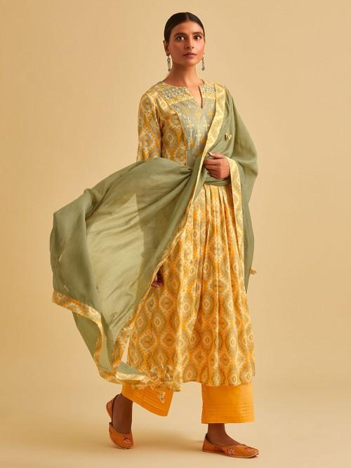 Yellow Cotton Keyhole Neck Printed Palazzo Suit