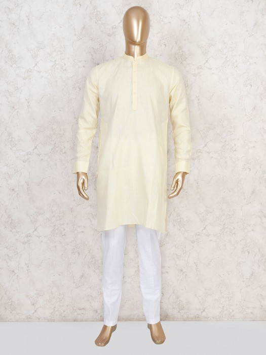 Yellow Cotton Kurta Suit For Festive Wear