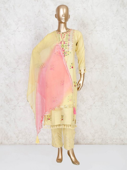 Yellow Cotton Palazzo Suit With Dupatta