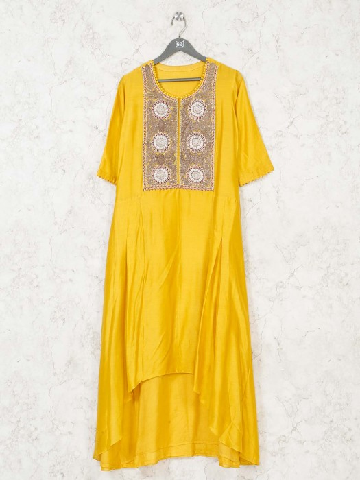 Yellow Cotton Silk Festive Designer Kurti
