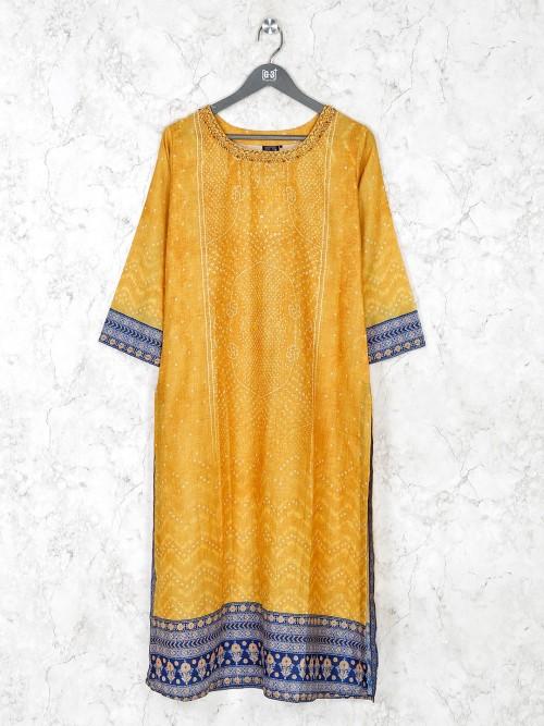 Yellow Cotton Silk Round Neck Kurti