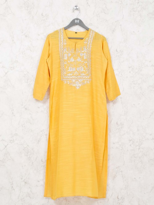 Yellow Cotton Tunic Dress For Casual