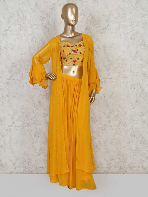 Yellow Designer Palazzo Style Salwar Suit In Georgette For Festive