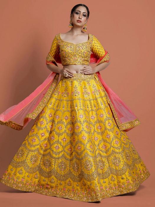 Yellow Designer Wedding Raw Silk Lehenga Choli