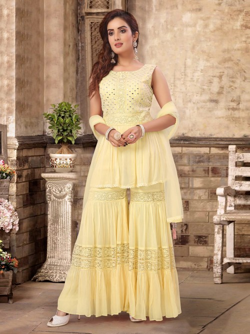 Yellow Georgette Party Wear Sharara Suit