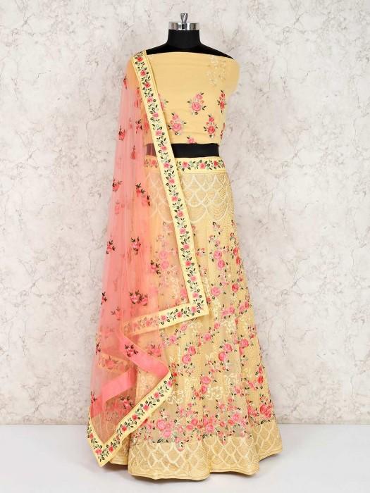 Yellow Georgette Semi Stitched Wedding Lehenga Choli