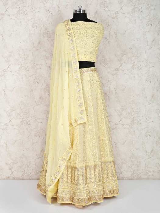 Yellow Georgette Wedding Semi Stitched Lehenga Choli