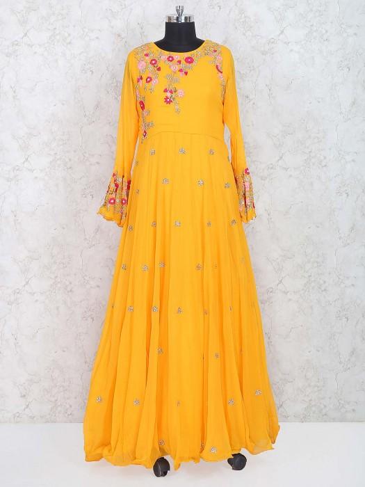 Yellow Hue Wedding Wear Anarkali Suit