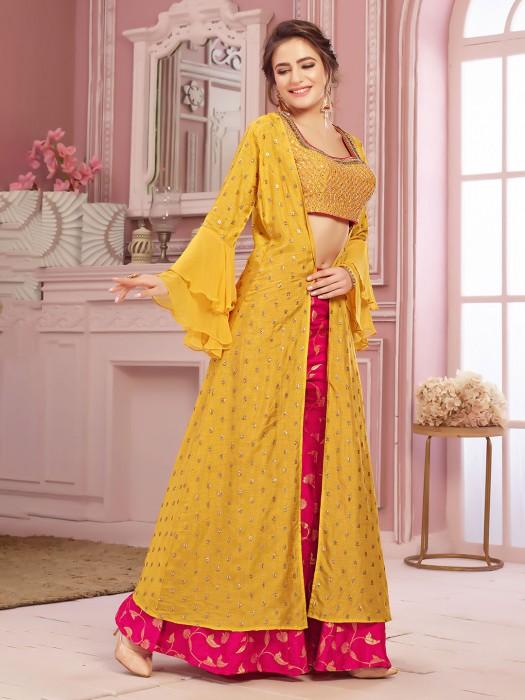Yellow Lehenga Crop Top With Jacket