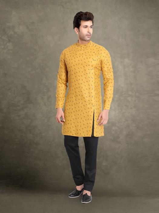Yellow Mens Ethnic Wear Printed Kurta Suit