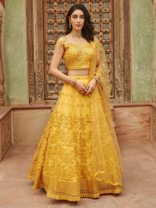 Yellow Net Designer Wedding Lehenga Choli