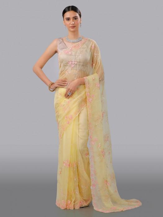Yellow Organza Tissue Silk Saree