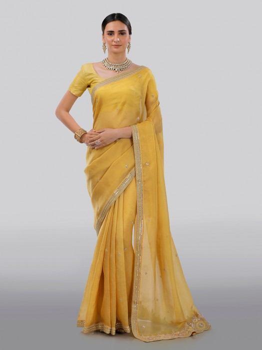 Yellow Organza Tissue Silk Saree With Matching Pallu