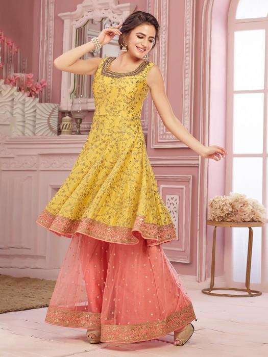 Yellow Palazzo Salwar Suit In Raw Silk