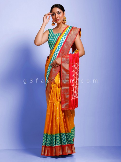 Yellow Contrast Blue Border Hydrabadi Ikkat Patola Saree