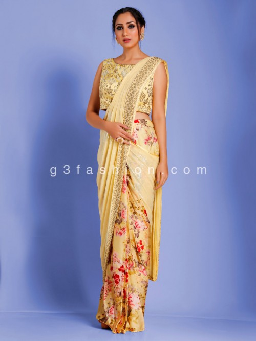Half And Half Yellow Digital Satin Printed Redy To Wear Saree