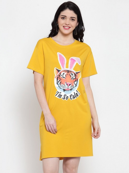 Yellow Printed Round Neck Long Top