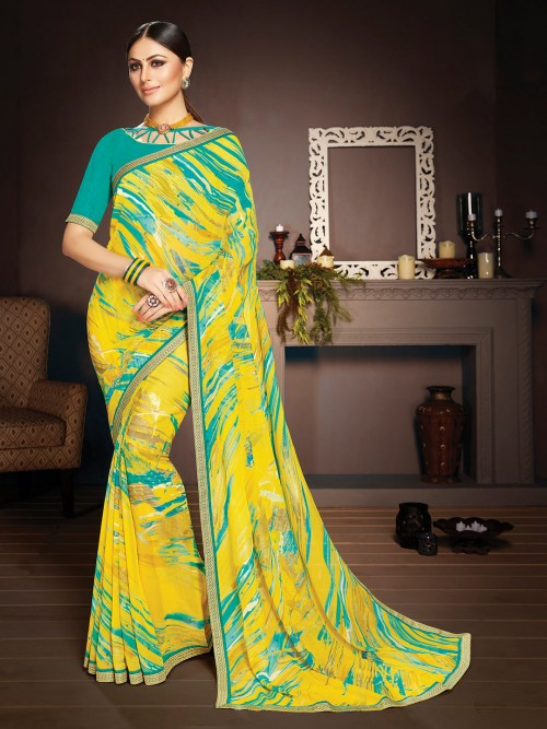 Yellow Printed Zari Weave Border Saree In Georgette