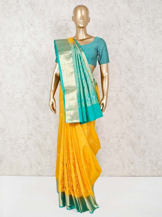 Yellow Pure South Silk Haldi Function Saree