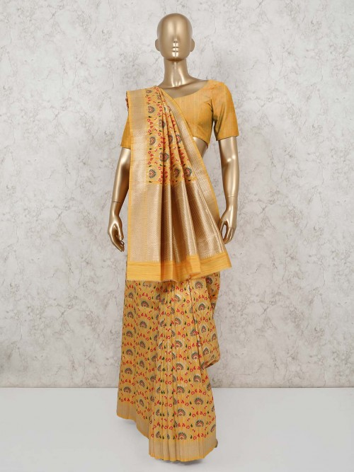 Yellow Semi Banarasi Silk Saree For Festivals