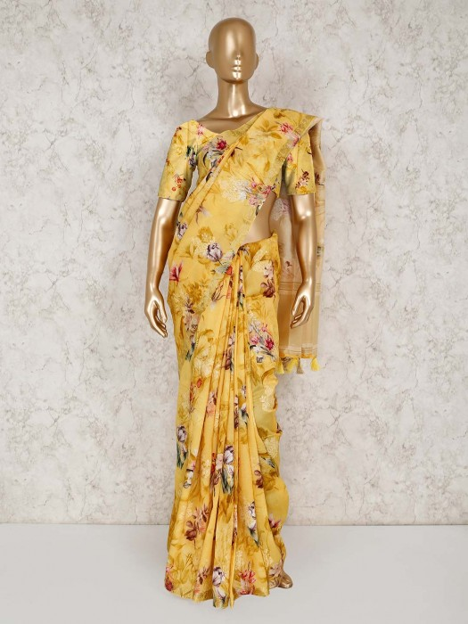Yellow Semi Silk Festive Wear Designer Saree