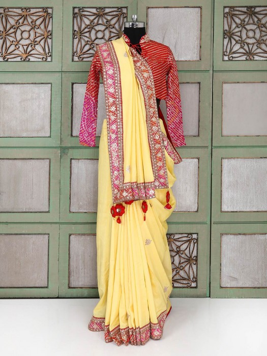 Yellow Silk Saree With Ready Made Blouse