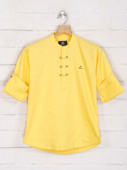 Yellow Solid Cotton Kurta In New Style
